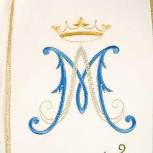 Casula mariana ricamo rose colorate 100% lana con cappuccio s3