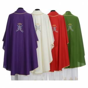 Casula mariana sacerdotale poliestere ricamo blu oro s2