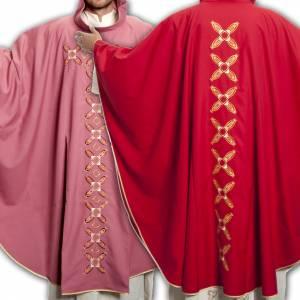 Casula religiosa con stola rosso e rosa lana s1