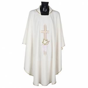 Casula sacerdotale croce doppia uva poliestere s1