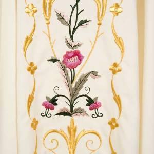 Casula sacerdotale fiori decorazioni 100% lana s4