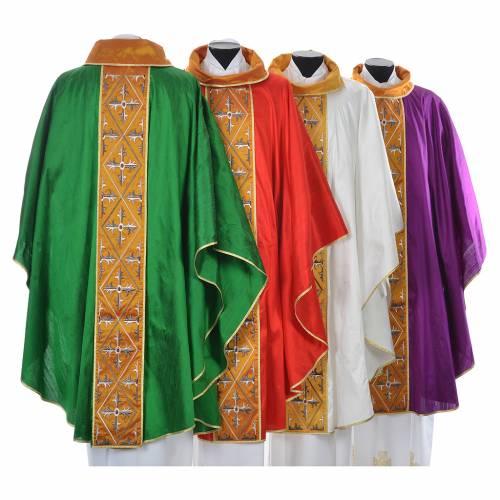 Casula sacerdotale seta 100% ricamo croce s2