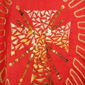 Casula shantung ricamo dorato croce con raggi s4