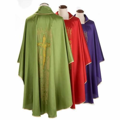 Casulla litúrgica shantung bordado cruz estilizada dorada s2