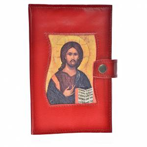 Catholic Bible cover red genuine leather Christ Pantocrator s1