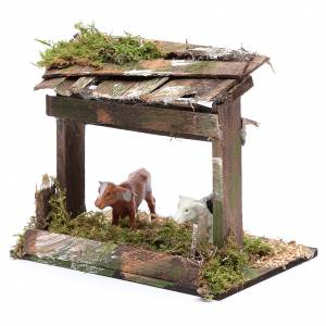 Settings, houses, workshops, wells: Cattle pen with canopy 10x15x10 cm