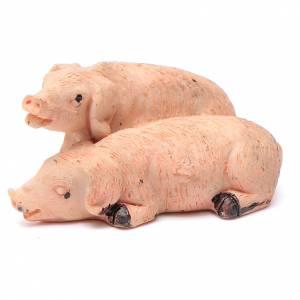Animales para el pesebre: Cerdos pareja de resina para belén 10 cm