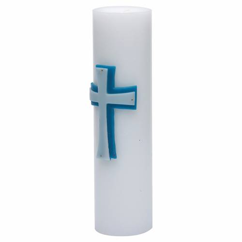 Cero da altare bassorilievo cera api croce blu diam 8 cm s2