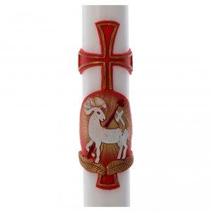 Cero pasquale bianco RINFORZO Cristo Risorto colorato 8x120 cm s2