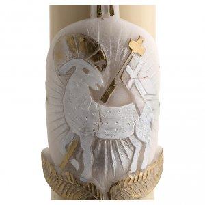 Cero pasquale cera d'api agnello argento croce 8x120 cm s4
