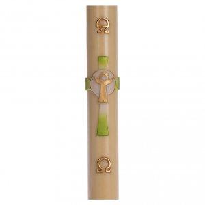 Candele, ceri, ceretti: Cero pasquale cera d'api Croce Risorto verde 8x120 cm