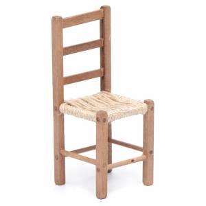 Crèche Napolitaine: Chaise 11 cm en bois et corde pour crèche napolitaine