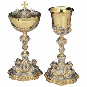 Chalice and Ciborium with evangelistic symbols and angels in sil s1