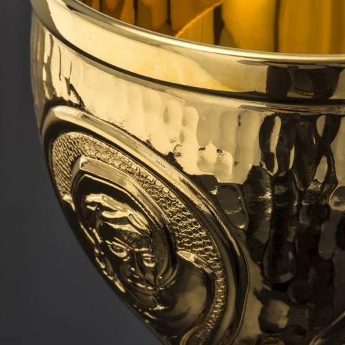 Chalice et ciboire Molina in brass hammered finishing, 4 Evangel s8