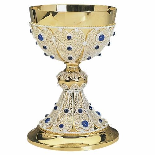 Chalice with silver filigree and blue glass stones s1