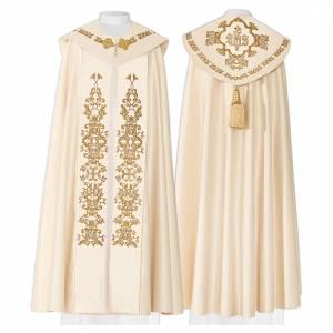 Chape 80% polyester blanc crème croix dorées et IHS s1
