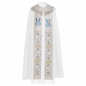 Chape liturgique 80% polyester blanc initiales mariales s1