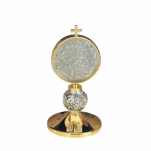 Chapel monstrance with chiseled grapes 8.5 cm diam s1