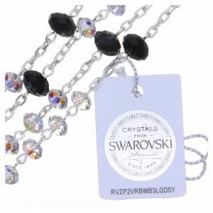 Chapelet argent 800 cristal Swarovski briolette 6 mm blanc/noir s3