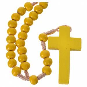 Chapelets en bois: Chapelet bois jaune 7mm corde en soie