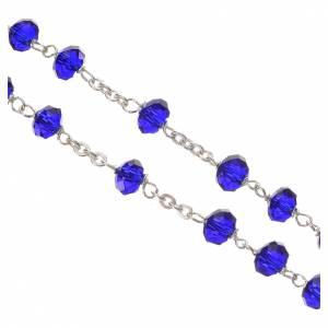 Chapelet cristal opaque 6mm argent 800 bleu s4