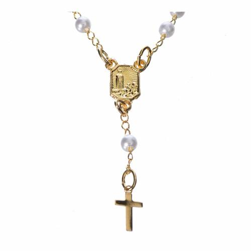 Chapelet dévotion collier Notre-Dame de Fátima imitation nacre s2