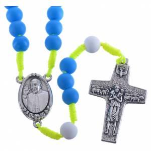 Chapelet fimo bleu Pape François s1
