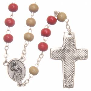 Rosaires de dévotion: Chapelet Pape François bois blanc rouge 7 mm