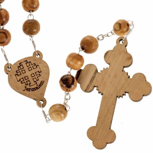 Chapelet Terre Sainte bois d'olivier croix trilobée s3