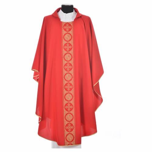 Chasuble 100% polyester décors croix dorées s5