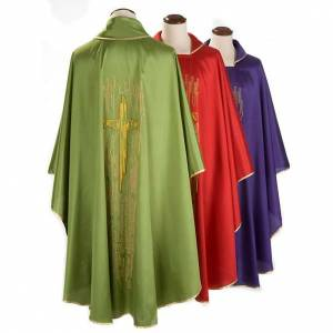 Chasubles: Chasuble golden stylized cross shantung