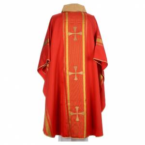 Chasuble in 100% polyester, cross and golden embroidery s3
