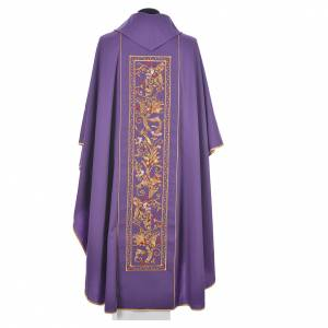 Chasuble in 100% wool, IHS, ears of wheat embroidery s9