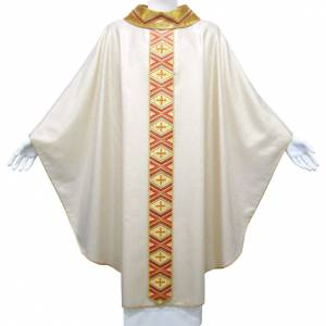 Chasuble in pure wool and lurex with embroidered orphrey s1
