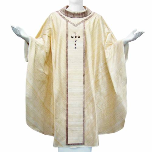 Chasuble in Shantung silk with sardonyx Agate stones in orphrey s3