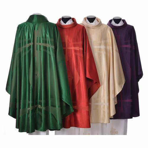Chasuble in wool and silk jacquard fabric s2