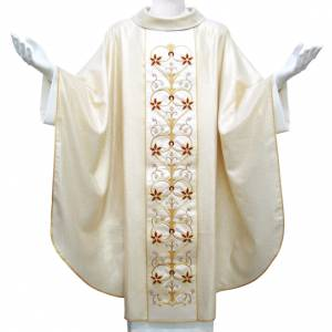 Chasuble in wool with twisted yarn and lurex, hand-embroidered s1