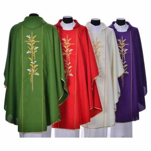 Chasuble liturgique 100% polyester croix lys s2