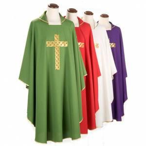 Chasuble liturgique broderie croix dorée s1