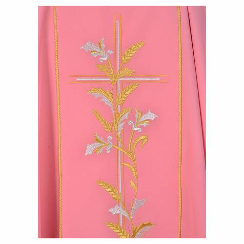 Chasuble liturgique rose 100% polyester croix lys s3