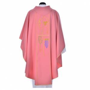 Chasuble liturgique rose 100% polyester épis raisins s2
