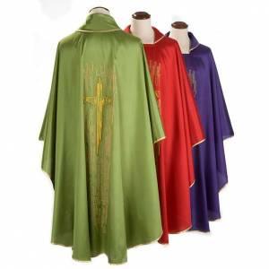 Chasubles: Chasuble liturgique shantung, croix stylisée dorée