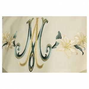 Chasubles: Chasuble mariale avec décors florales laine viscose effet pointillé