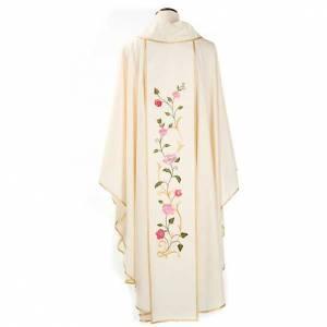 Chasuble Mariale décor roses colorées 100% laine avec capuchon s2