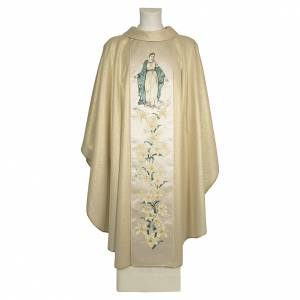 Chasubles: Chasuble mariale fleurs 93% laine 4% polyester 3% viscose effet or