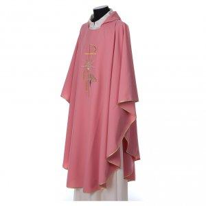 Chasuble rose dessin Chi-Rho, ostensoir et épis, laine et lurex s3