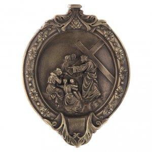 Chemin de Croix pâte à bois en bain de bronze s9