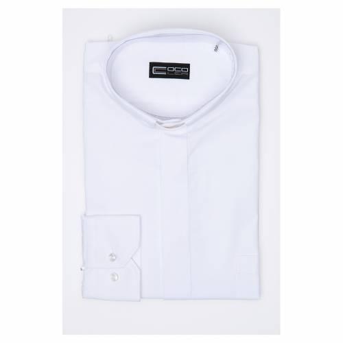 Chemise clergy m. longues couleur unie Mixte coton Blanc s3