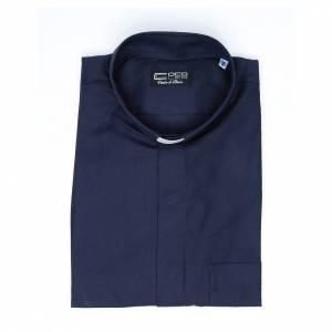 Chemises Clergyman: Chemise clergy mix coton polyester bleu m. courtes
