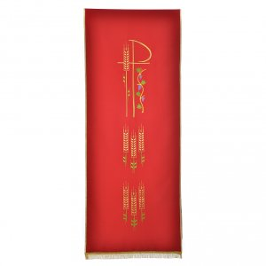 Chi Rho, ears of wheat pulpit cover with fringe s4
